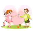 boy give girl flower vector image vector image