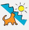 cat is warm sunshine happiness positivity vector image