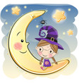 halloween with cute witch vector image