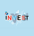invest business investment creative word over vector image