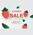 paper art of summer sale banner with strawberry vector image