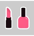 Pink lipstick nail polish sticker on gray vector image