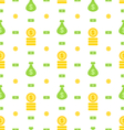 Seamless Pattern with Money Bag Bank Notes Coins vector image