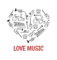 Classic musical instruments icons shaped as heart vector image vector image