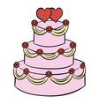 wedding cake icon cartoon vector image