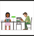 female and male people sitting at table read books vector image