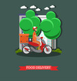 food delivery in flat style vector image