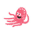 cute cartoon pink octopus character funny ocean vector image