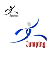 Sports abstract emblem with jumping athlete vector image