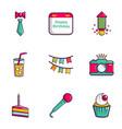 birthday entertainment icons set flat style vector image