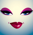 Coquette woman eyes and lips stylish makeup People vector image