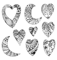 hearts and crescent vector image