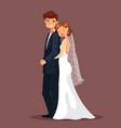 man and woman bride and husband hug at wedding vector image