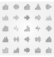 Music sound wave icons set vector image