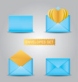 set blue envelopes open and closed envelope vector image