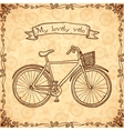 Vintage bicycle hand drawn card vector image