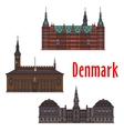 Historic buildings and architecture of Denmark vector image vector image
