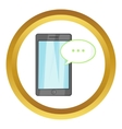 Smartphone with speech bubble icon vector image