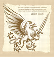 vintag background with heraldic gryphon vector image