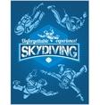 Skydiving set - emblem and skydivers vector image vector image