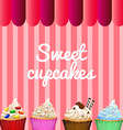 Banner design with sweet cupcakes vector image