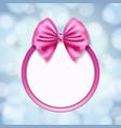 pink ribbon bow vector image vector image