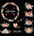 Chalkboard Wedding Floral Elements vector image