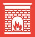 christmas fireplace line icon new year vector image