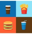 FastFood Junk Food Cartoon Icons vector image