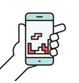 hand holding smartphone gaming linear icon line vector image