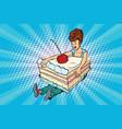 happy girl and sweet cake vector image