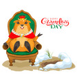 happy groundhog day greeting card marmot king vector image