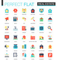set of flat real estate icons vector image