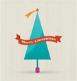Christmas tree with merry christmas text vector image