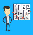business man looking at labyrinth with solution vector image