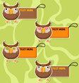 Four cute cartoon Owls stickers vector image