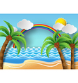 palm with island and rainbow vector image