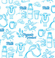 Natural milk with splashes seamless pattern design vector image