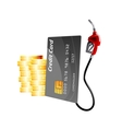 Credit card with gas pump nozzle and coins vector image