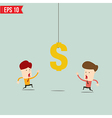 Businessman try to reach money- - EPS10 vector image