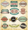 Collection of old color vintage label for design vector image