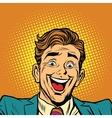 Happy face super joyful person vector image