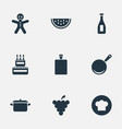 set of simple preparation icons elements birthday vector image