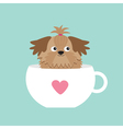 Shih Tzu dog sitting in pink cup with heart Cute vector image
