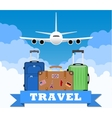 three Travel bag with clouds and plane vector image