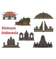 Travel landmarks of Vietnam and Indonesia vector image