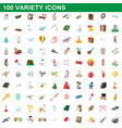 100 variety icons set cartoon style vector image