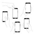Set of hands with smartphones vector image vector image