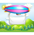 An empty banner carried by the stripe airship vector image