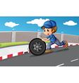 A boy pushing a wheel along the road vector image vector image